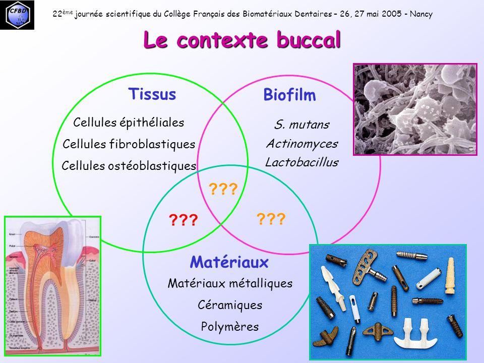Le contexte buccal Tissus Biofilm Matériaux