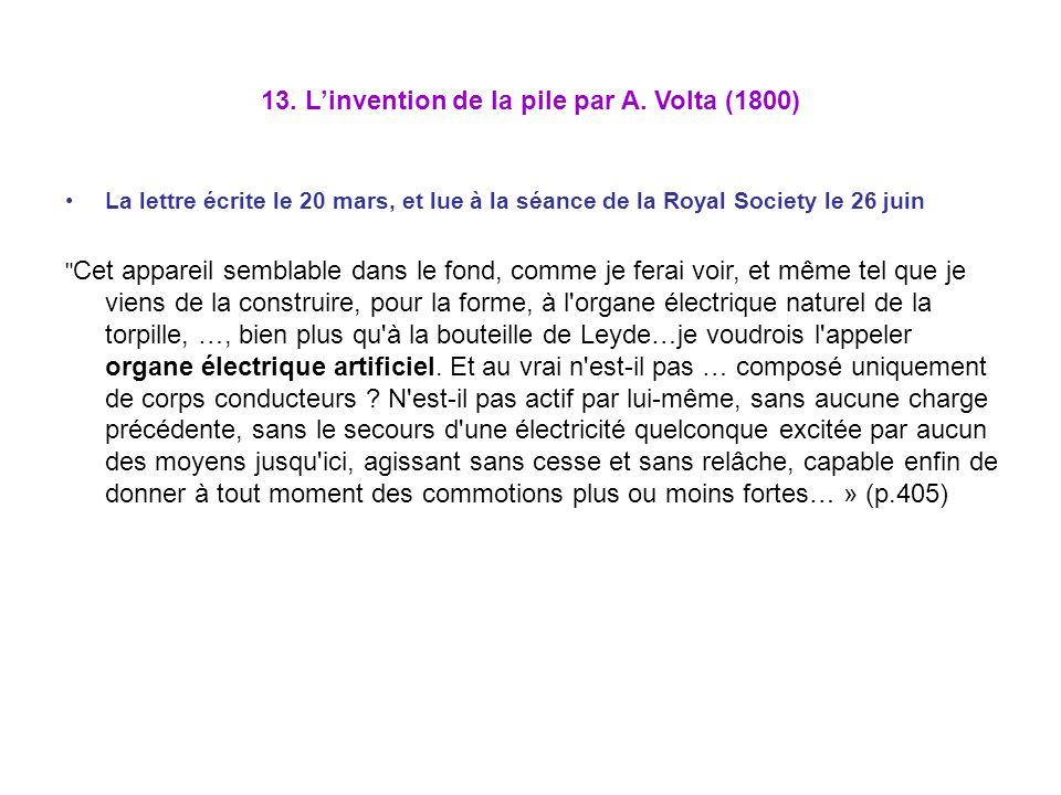 13. L'invention de la pile par A. Volta (1800)