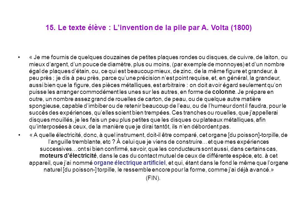 15. Le texte élève : L'invention de la pile par A. Volta (1800)
