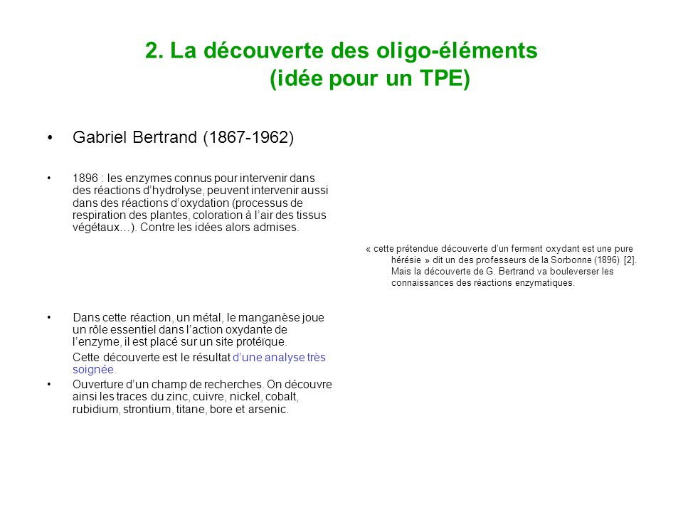 2. La découverte des oligo-éléments (idée pour un TPE)