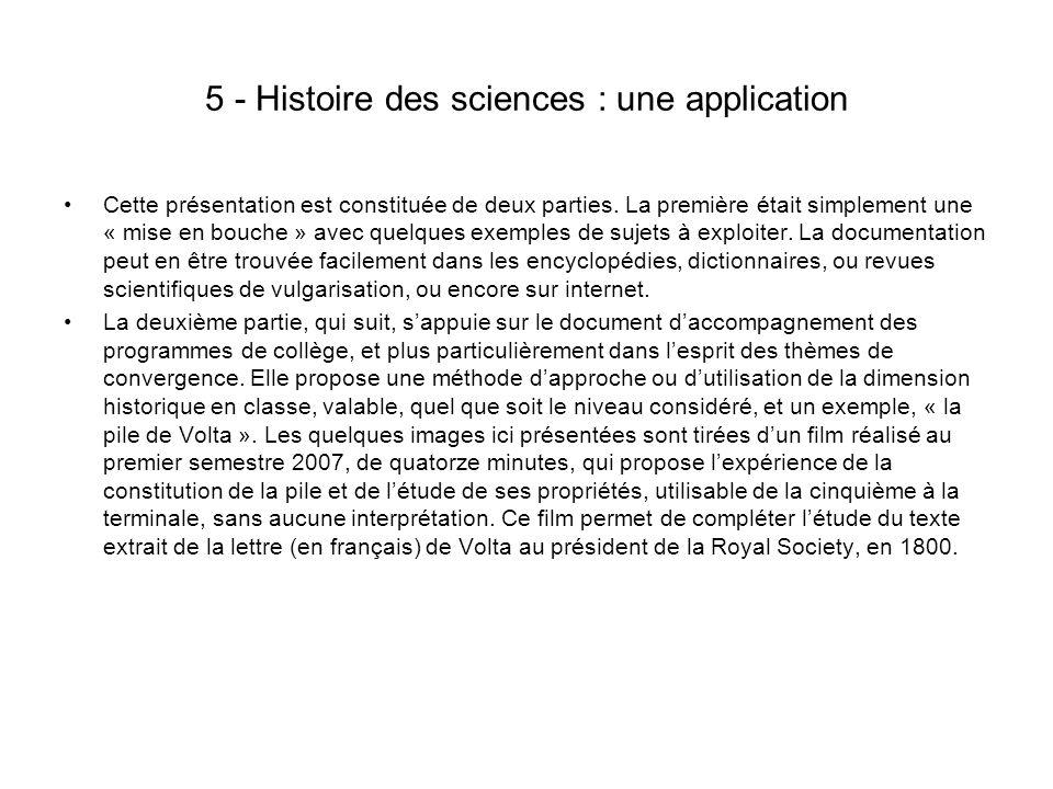 5 - Histoire des sciences : une application