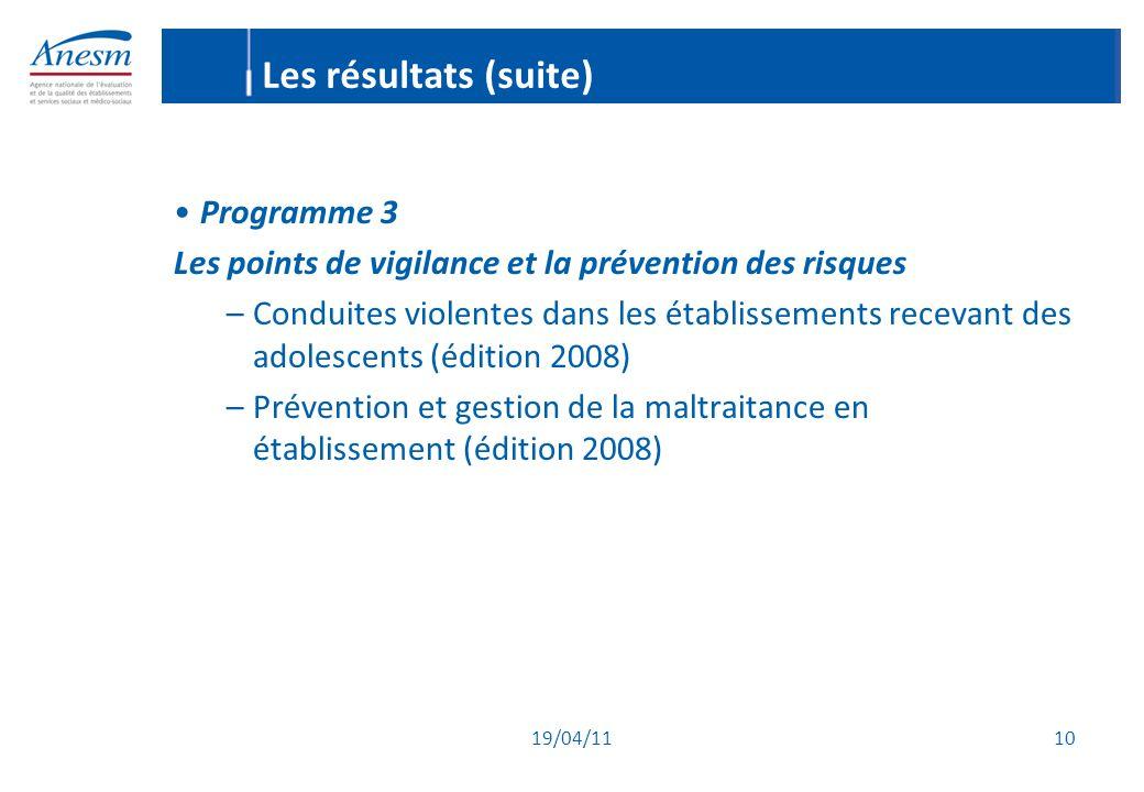 Les résultats (suite) Programme 3
