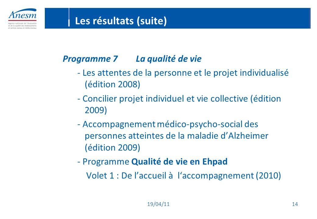 Les résultats (suite) Programme 7 La qualité de vie