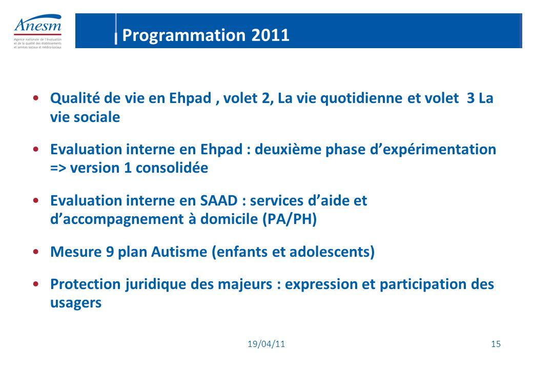 Programmation 2011 Qualité de vie en Ehpad , volet 2, La vie quotidienne et volet 3 La vie sociale.