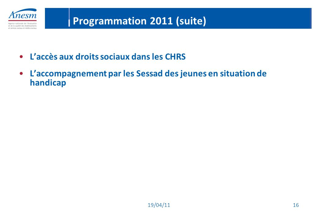 Programmation 2011 (suite)