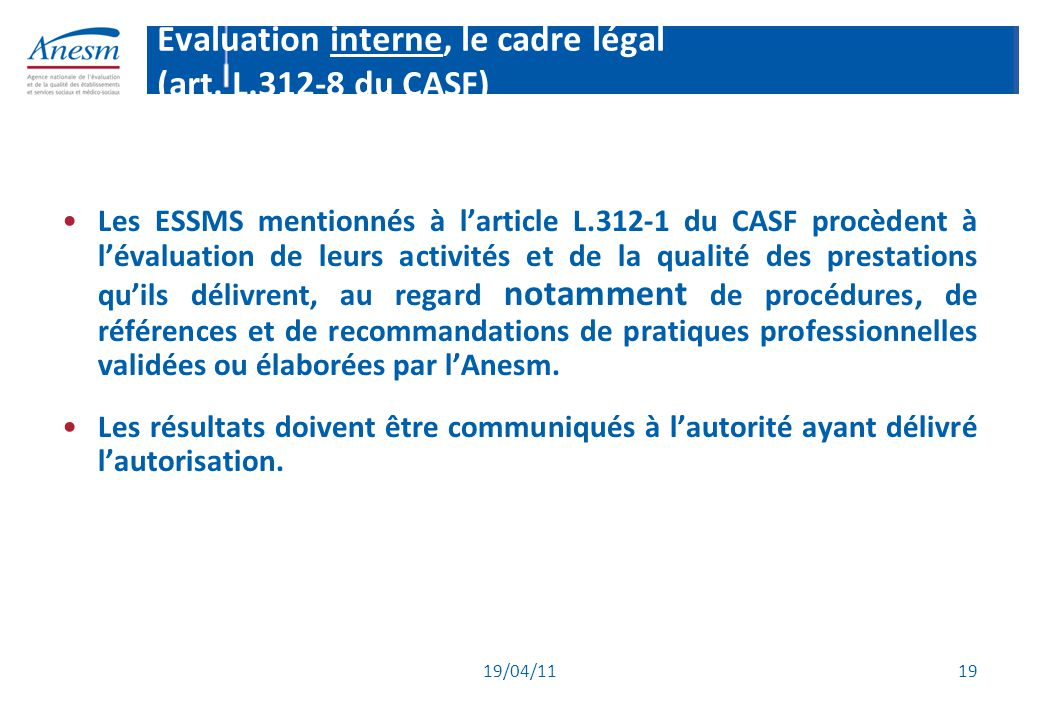 Evaluation interne, le cadre légal (art. L.312-8 du CASF)