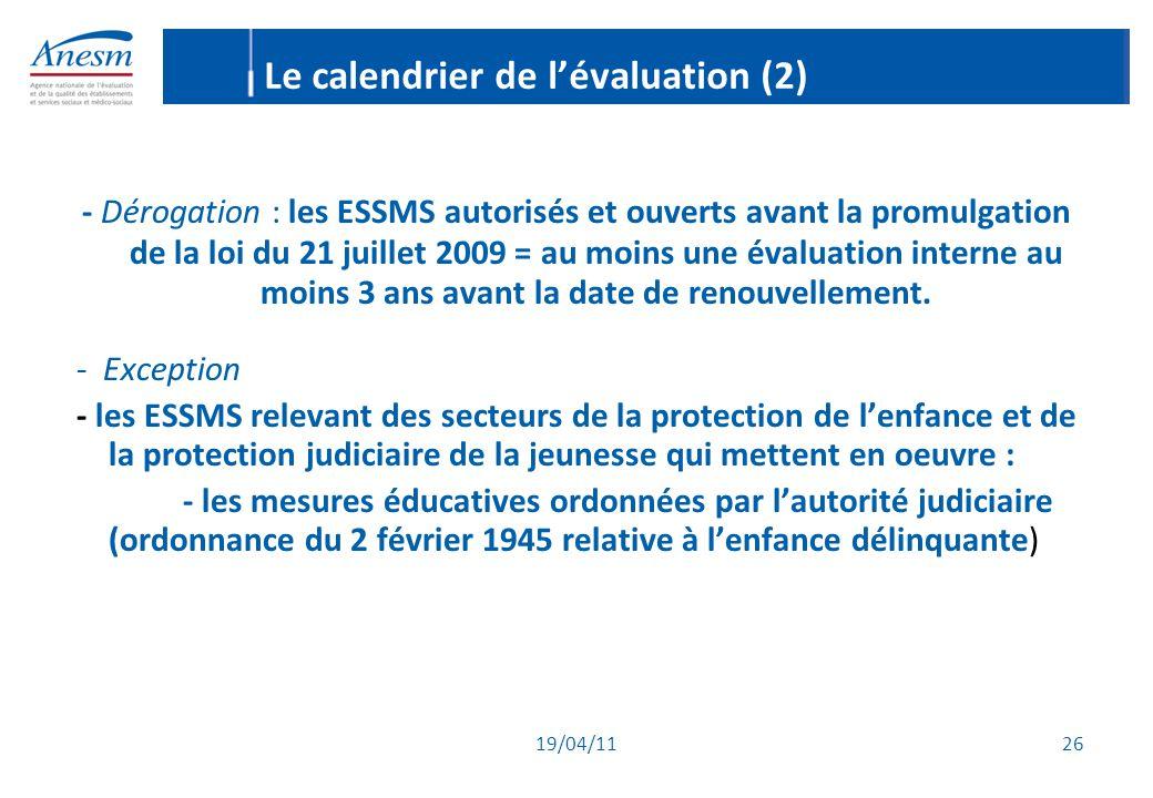 Le calendrier de l'évaluation (2)