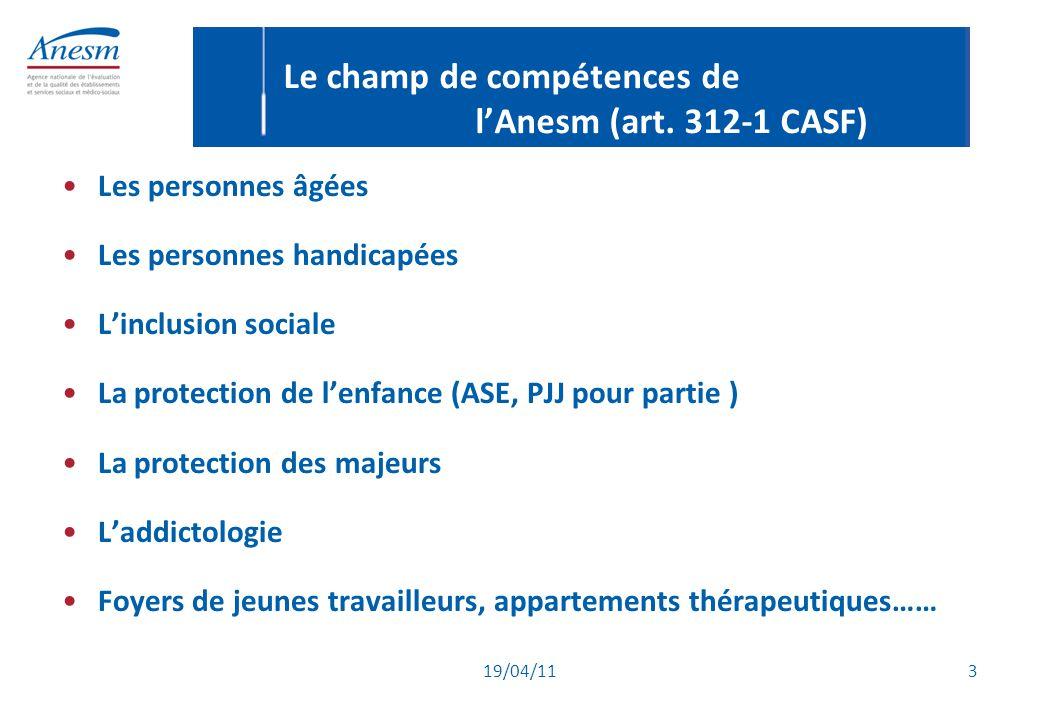 Le champ de compétences de l'Anesm (art. 312-1 CASF)