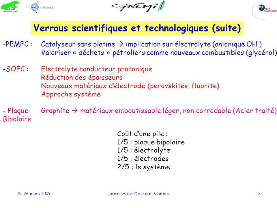 Verrous scientifiques et technologiques (suite)