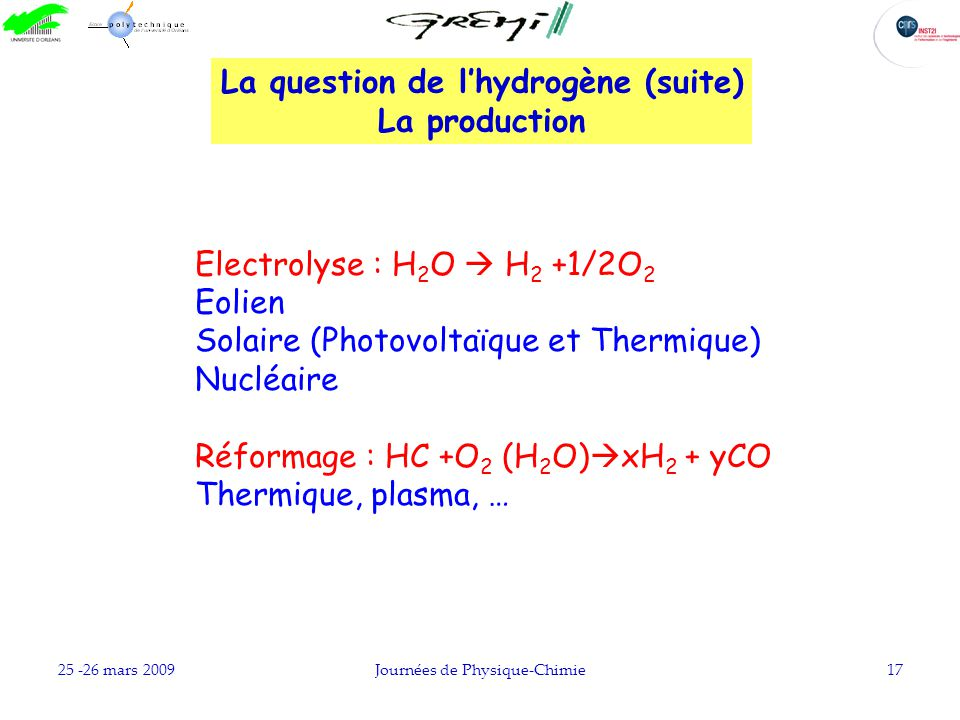 La question de l'hydrogène (suite)