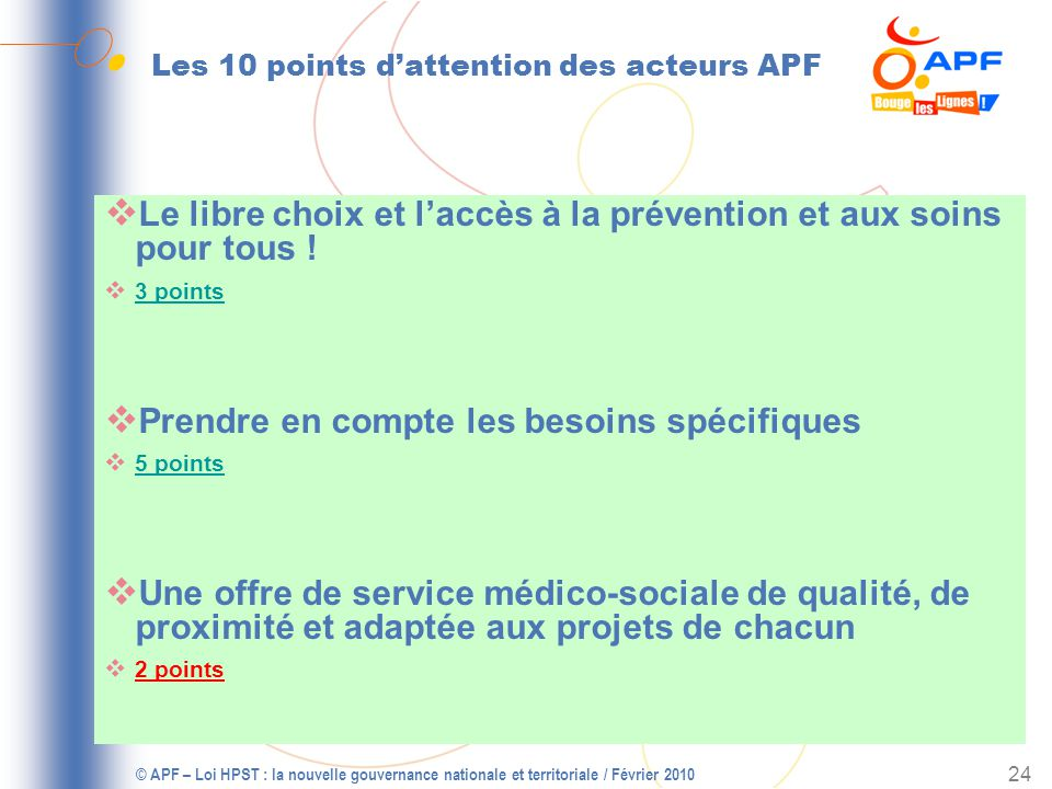 Les 10 points d'attention des acteurs APF