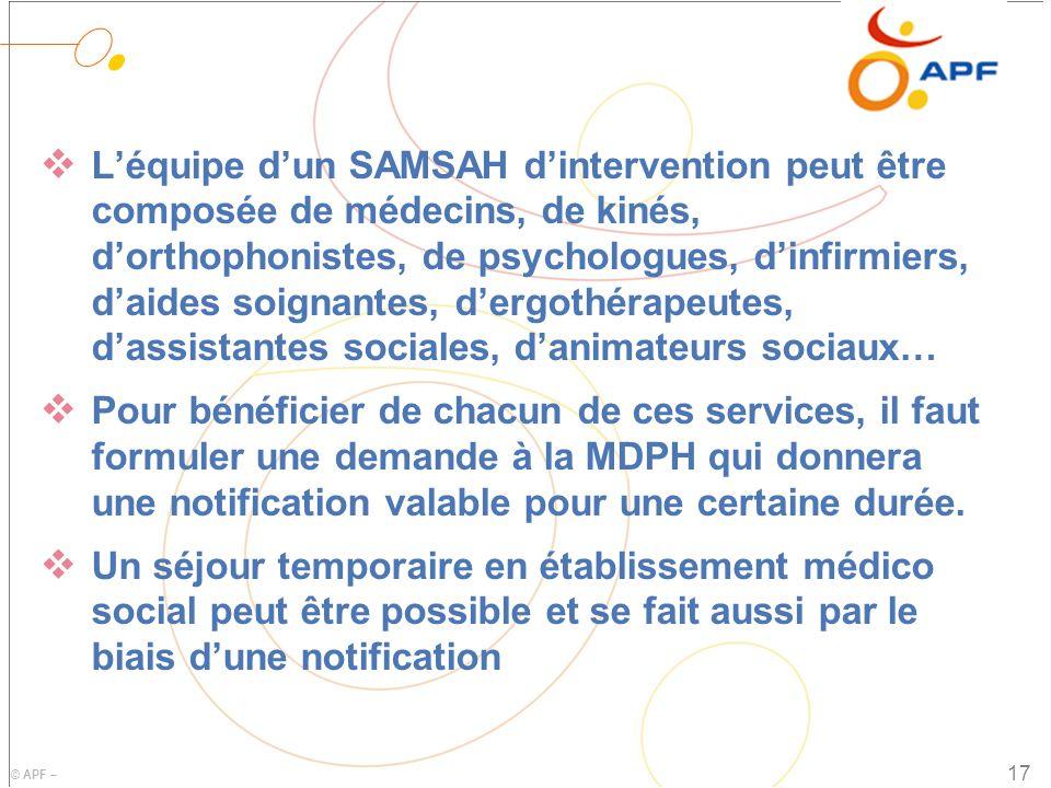L'équipe d'un SAMSAH d'intervention peut être composée de médecins, de kinés, d'orthophonistes, de psychologues, d'infirmiers, d'aides soignantes, d'ergothérapeutes, d'assistantes sociales, d'animateurs sociaux…