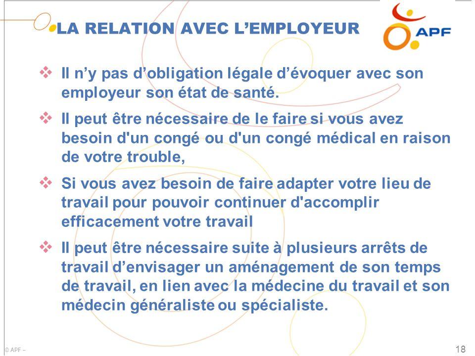 LA RELATION AVEC L'EMPLOYEUR