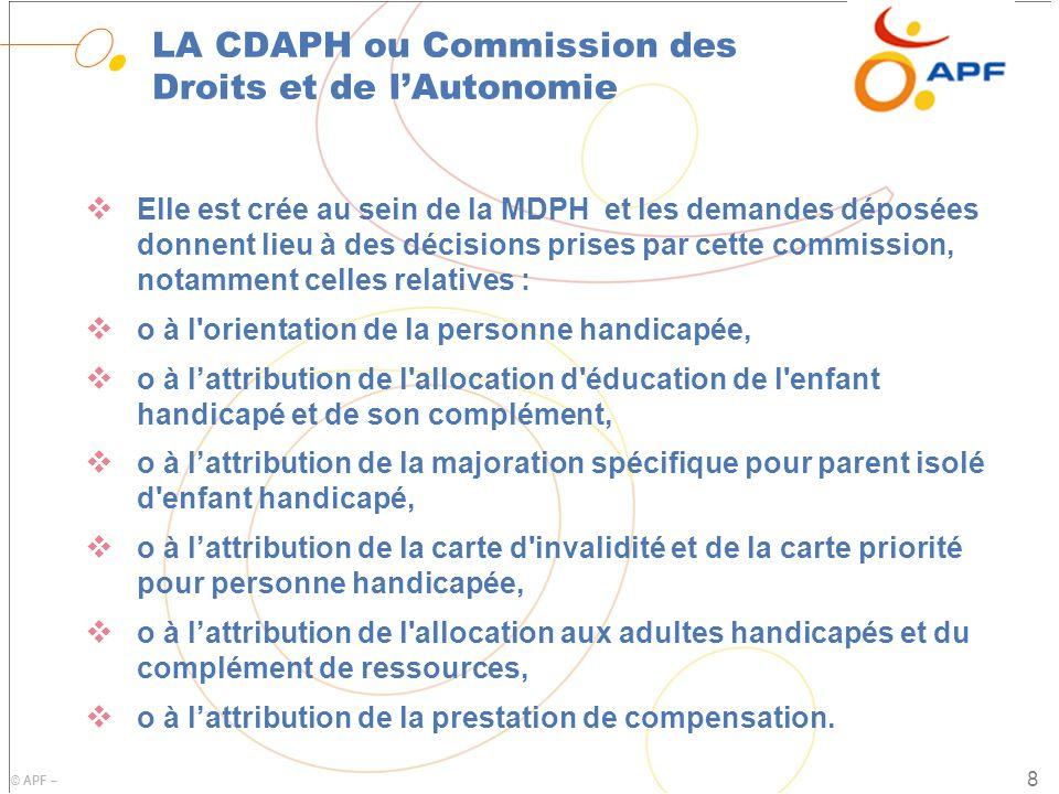 LA CDAPH ou Commission des Droits et de l'Autonomie