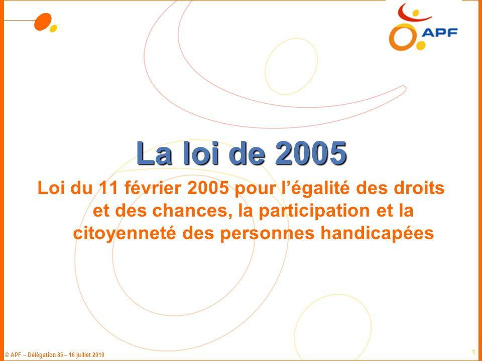 La loi de 2005 Loi du 11 février 2005 pour l'égalité des droits et des chances, la participation et la citoyenneté des personnes handicapées.