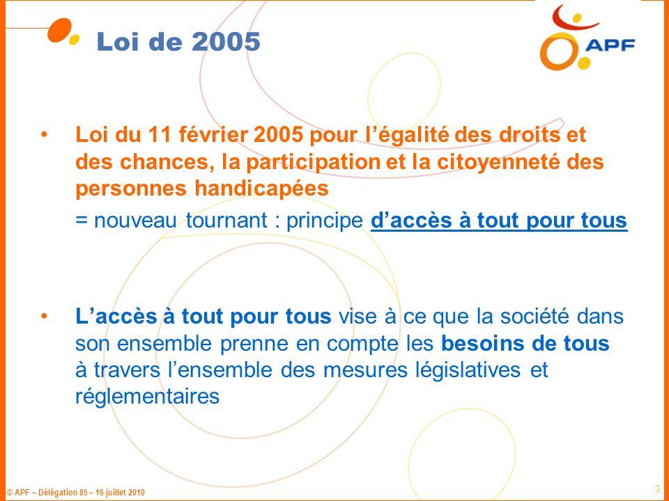 Loi de 2005 Loi du 11 février 2005 pour l'égalité des droits et des chances, la participation et la citoyenneté des personnes handicapées.