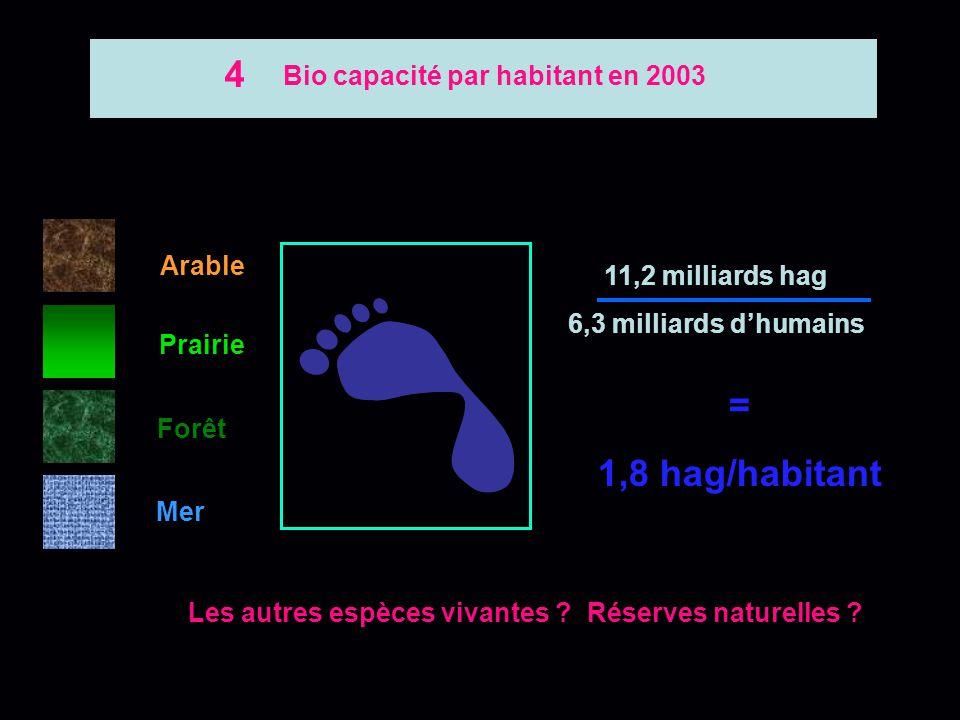 Bio capacité par habitant en 2003
