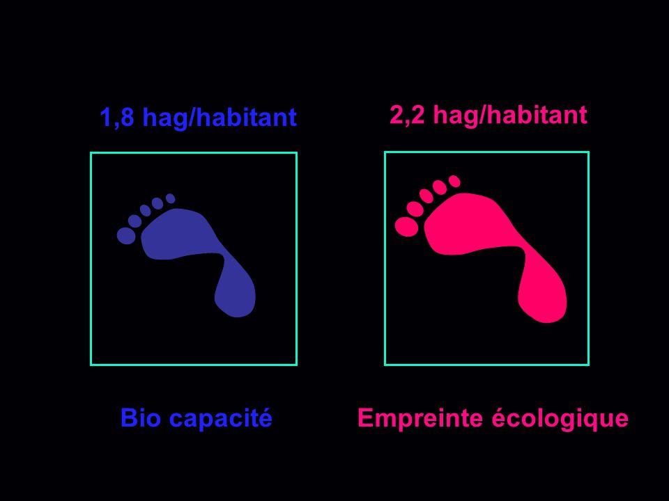 1,8 hag/habitant 2,2 hag/habitant Bio capacité Empreinte écologique