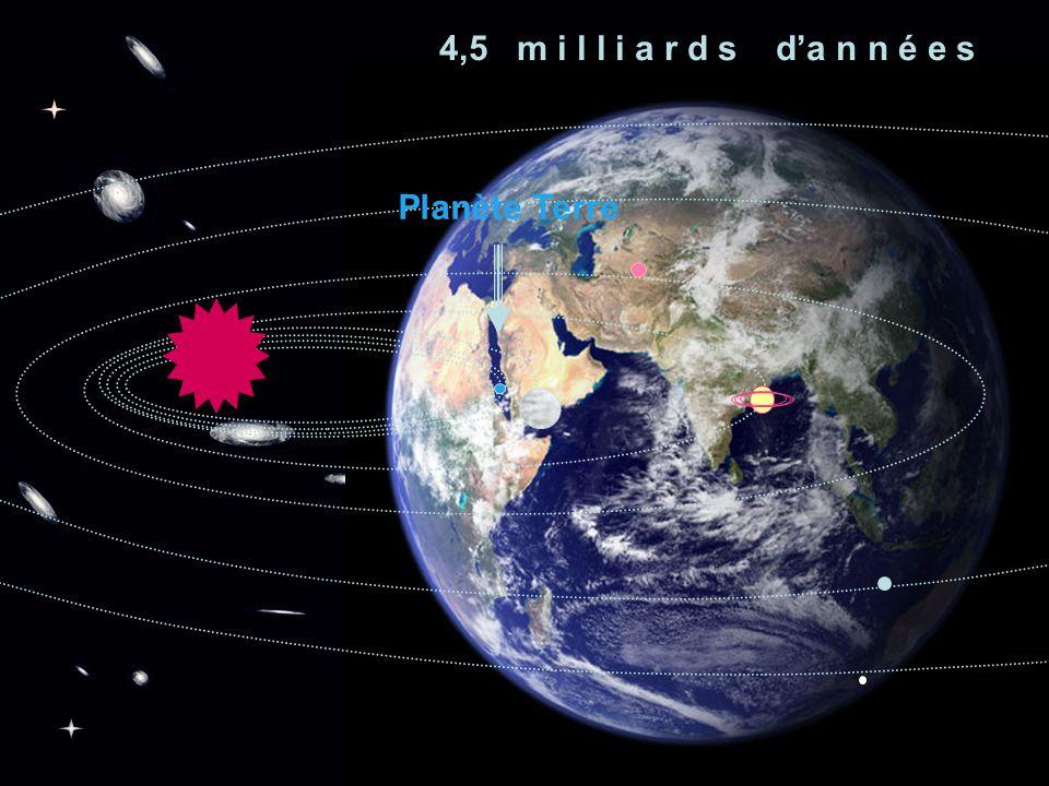 4,5 m i l l i a r d s d'a n n é e s Planète Terre