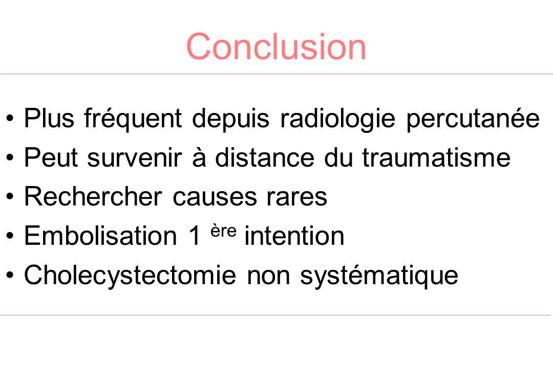 Conclusion Plus fréquent depuis radiologie percutanée