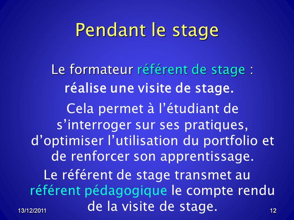 Pendant le stage Le formateur référent de stage : réalise une visite de stage.