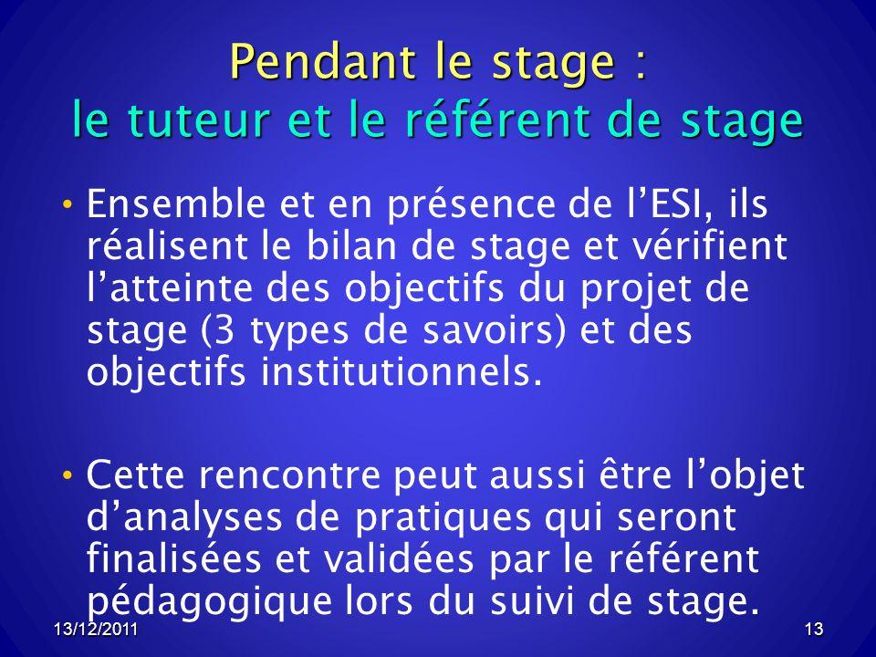 Pendant le stage : le tuteur et le référent de stage