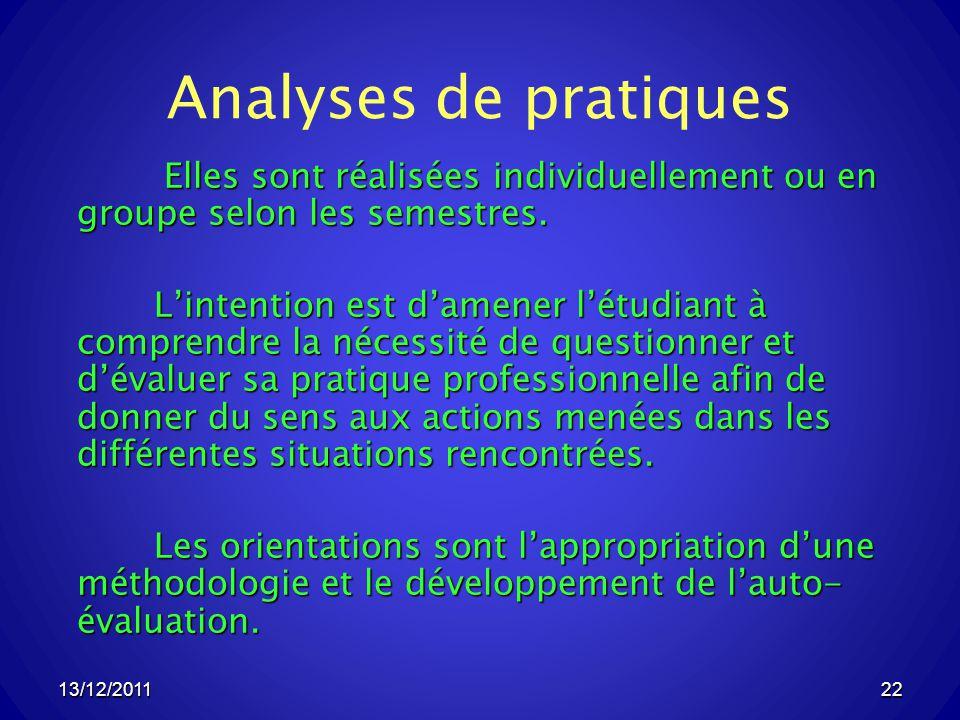 Analyses de pratiques Elles sont réalisées individuellement ou en groupe selon les semestres.