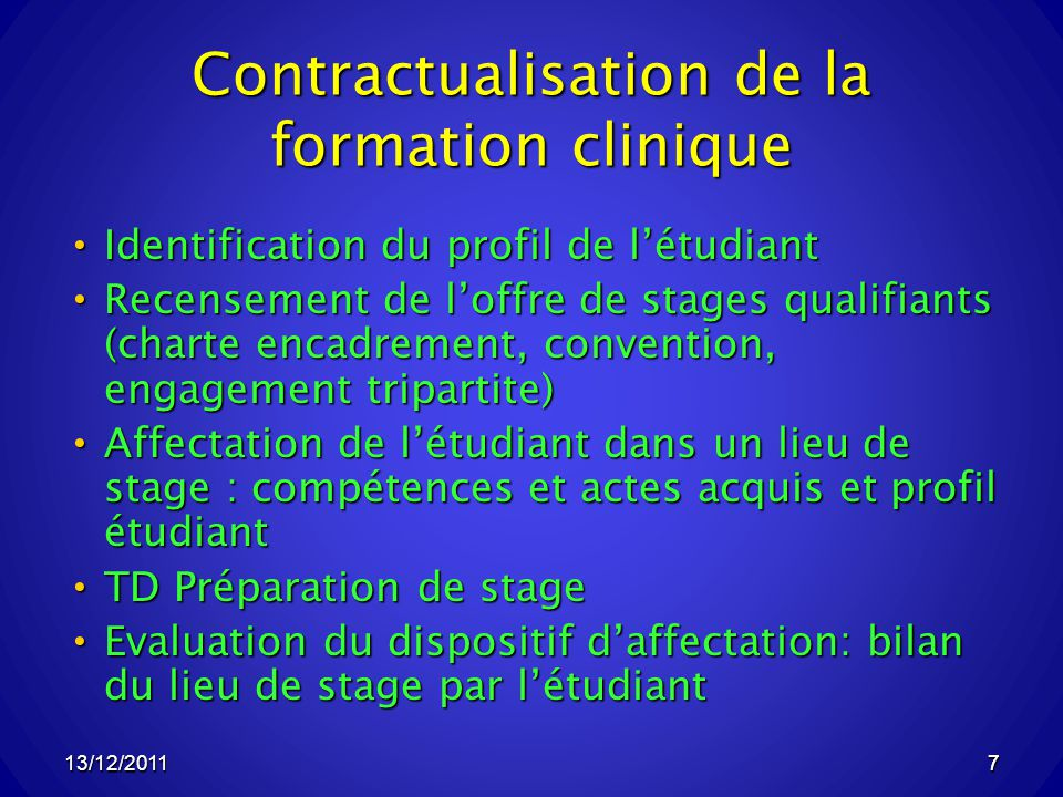 Contractualisation de la formation clinique