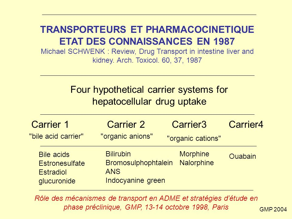 Four hypothetical carrier systems for hepatocellular drug uptake