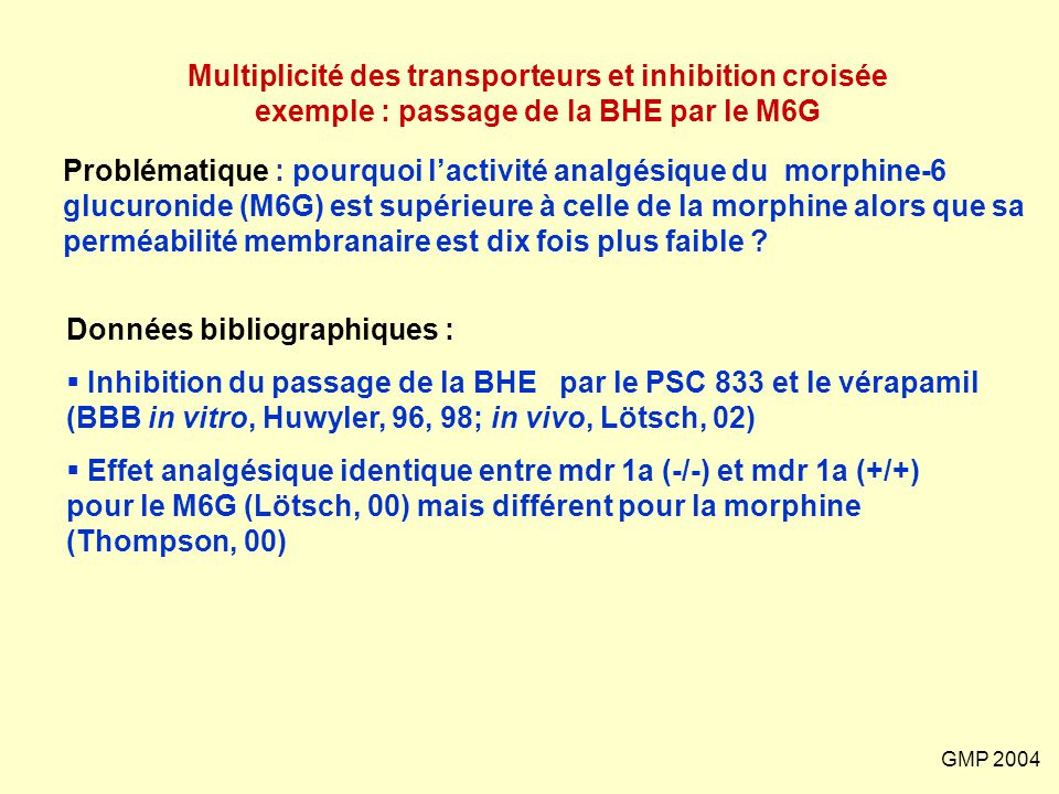Multiplicité des transporteurs et inhibition croisée exemple : passage de la BHE par le M6G
