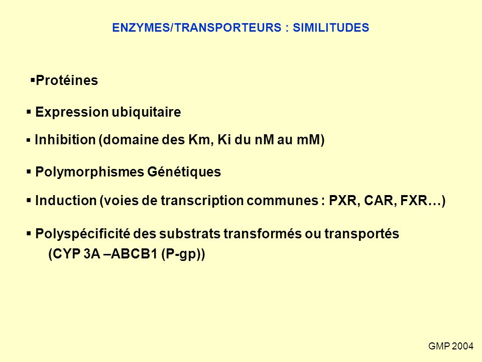 ENZYMES/TRANSPORTEURS : SIMILITUDES