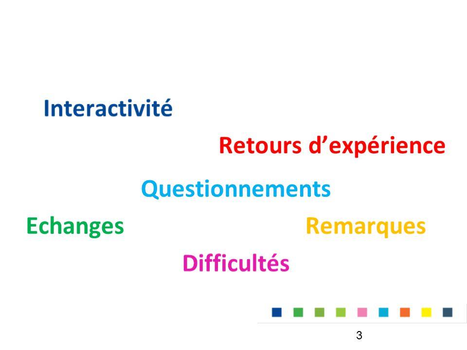 Interactivité Retours d'expérience Questionnements Echanges Remarques Difficultés
