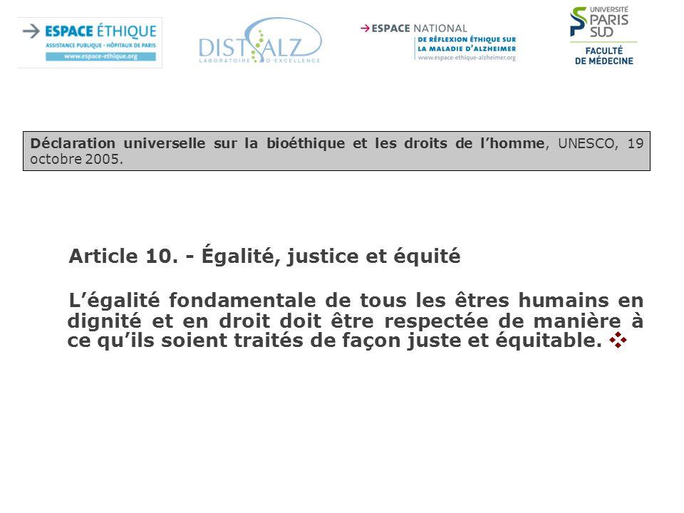 Article 10. - Égalité, justice et équité