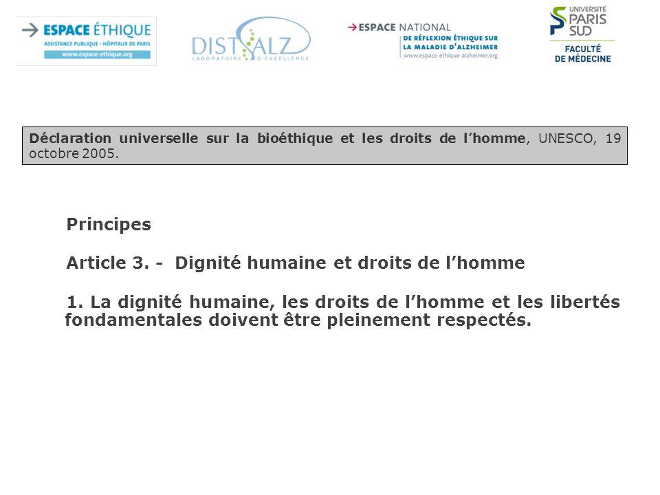 Article 3. - Dignité humaine et droits de l'homme
