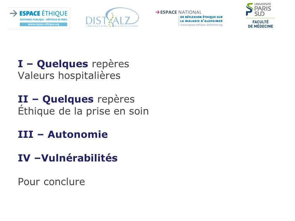 I – Quelques repères Valeurs hospitalières II – Quelques repères Éthique de la prise en soin III – Autonomie IV –Vulnérabilités Pour conclure