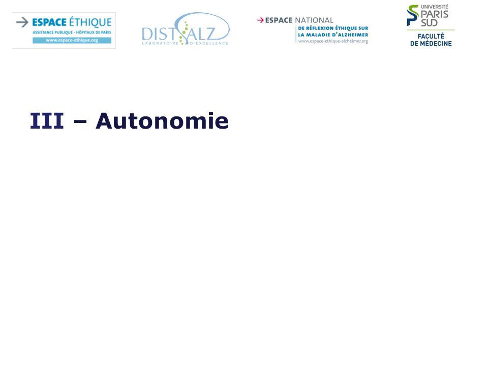 III – Autonomie