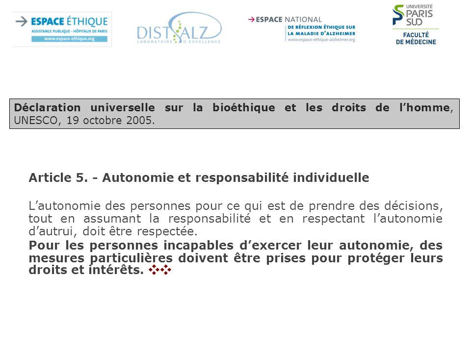 Article 5. - Autonomie et responsabilité individuelle