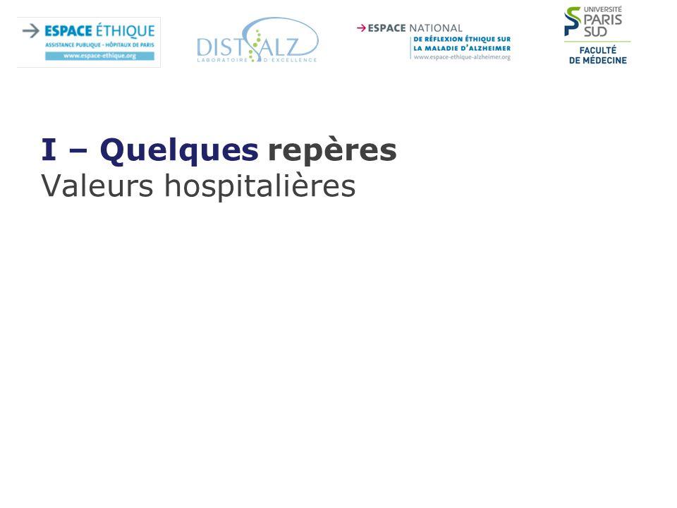 I – Quelques repères Valeurs hospitalières