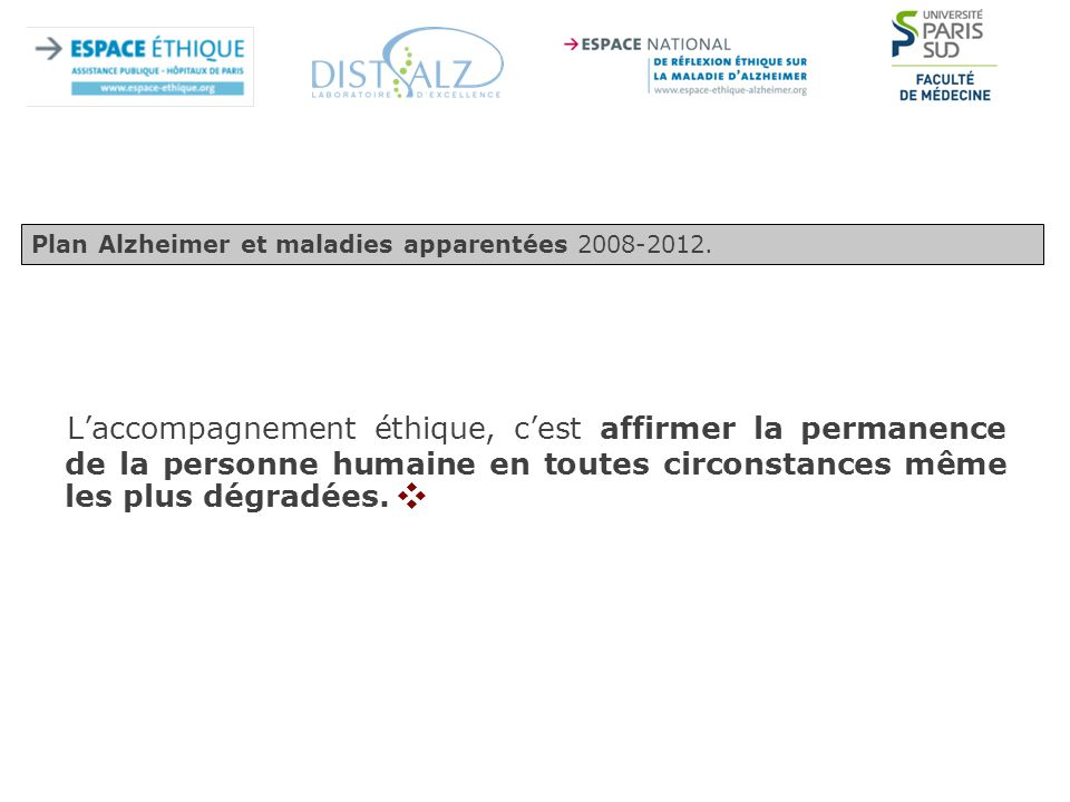 Plan Alzheimer et maladies apparentées 2008-2012.