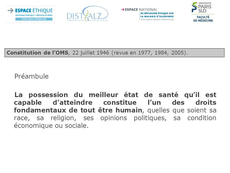 Constitution de l'OMS, 22 juillet 1946 (revue en 1977, 1984, 2005).