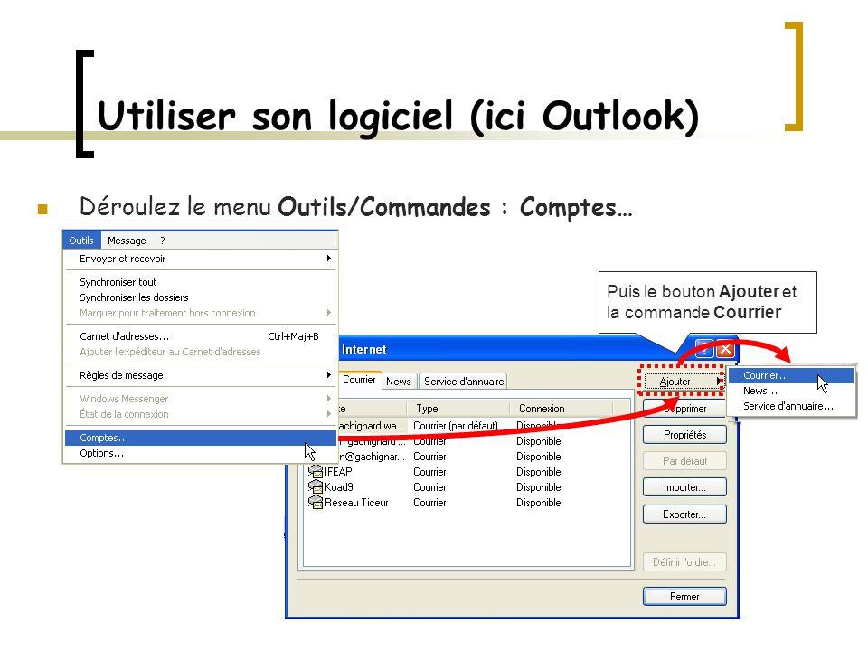 Utiliser son logiciel (ici Outlook)