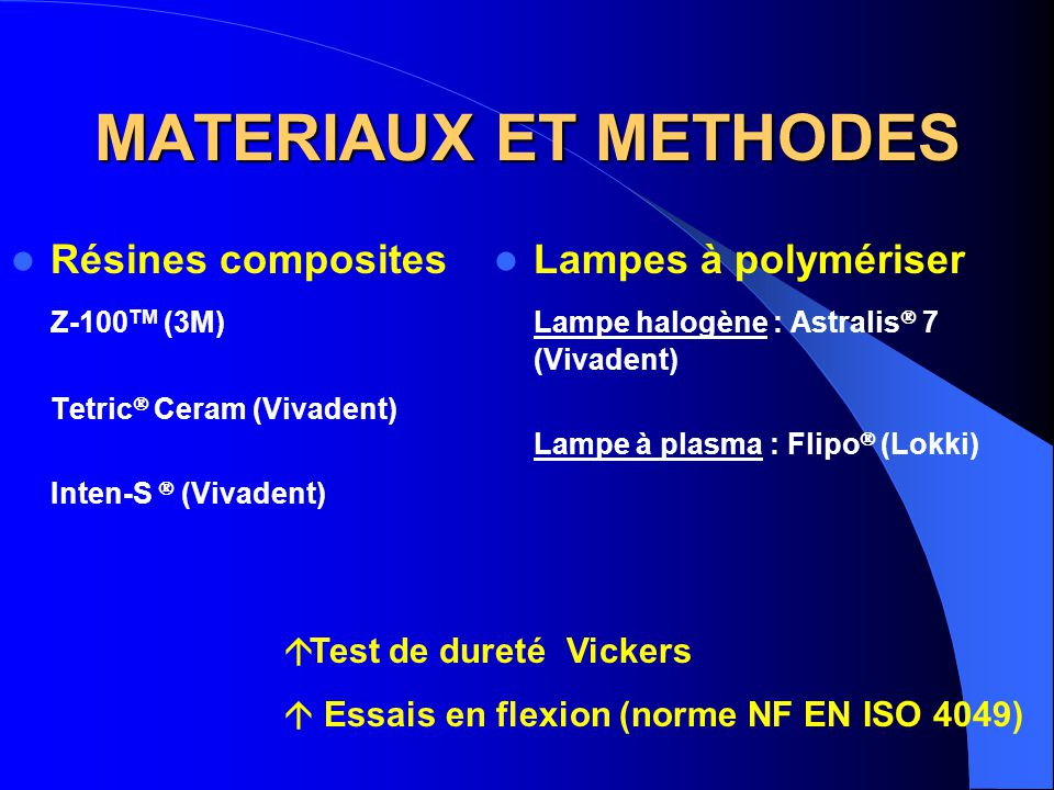 MATERIAUX ET METHODES Résines composites Z-100TM (3M)