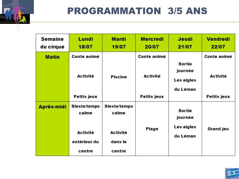 PROGRAMMATION 3/5 ANS Semaine du cirque Lundi 18/07 Mardi 19/07