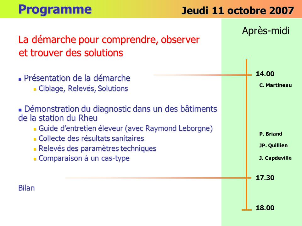 Programme Jeudi 11 octobre 2007 Après-midi