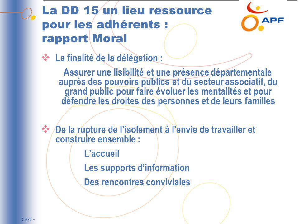 La DD 15 un lieu ressource pour les adhérents : rapport Moral