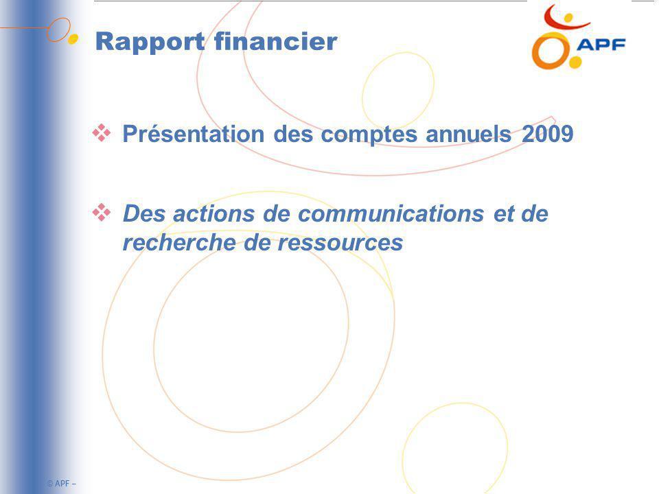 Rapport financier Présentation des comptes annuels 2009