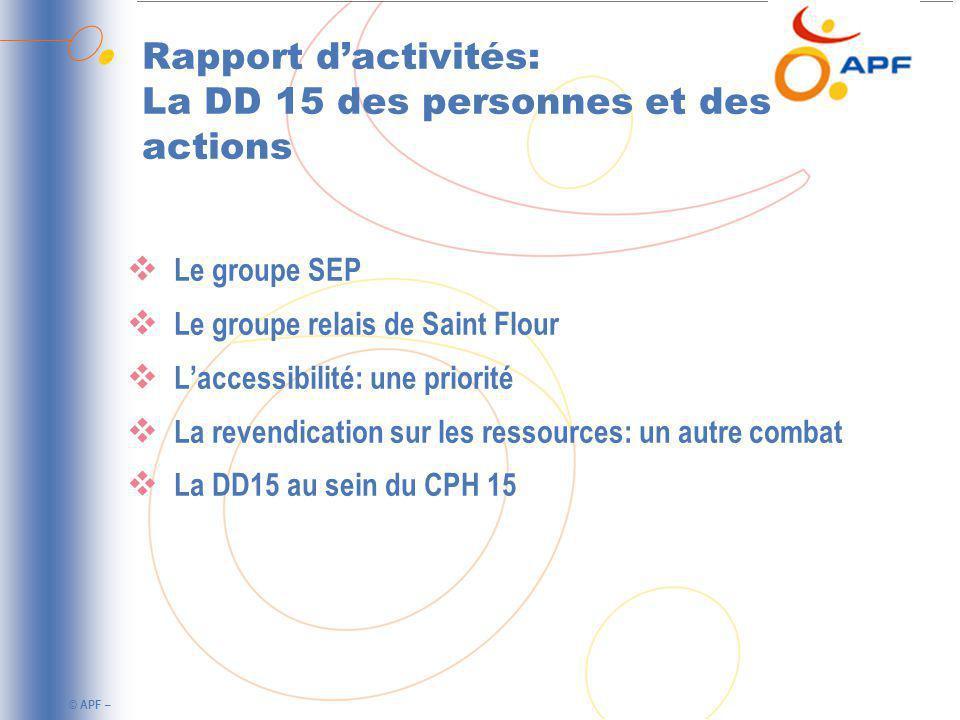 Rapport d'activités: La DD 15 des personnes et des actions