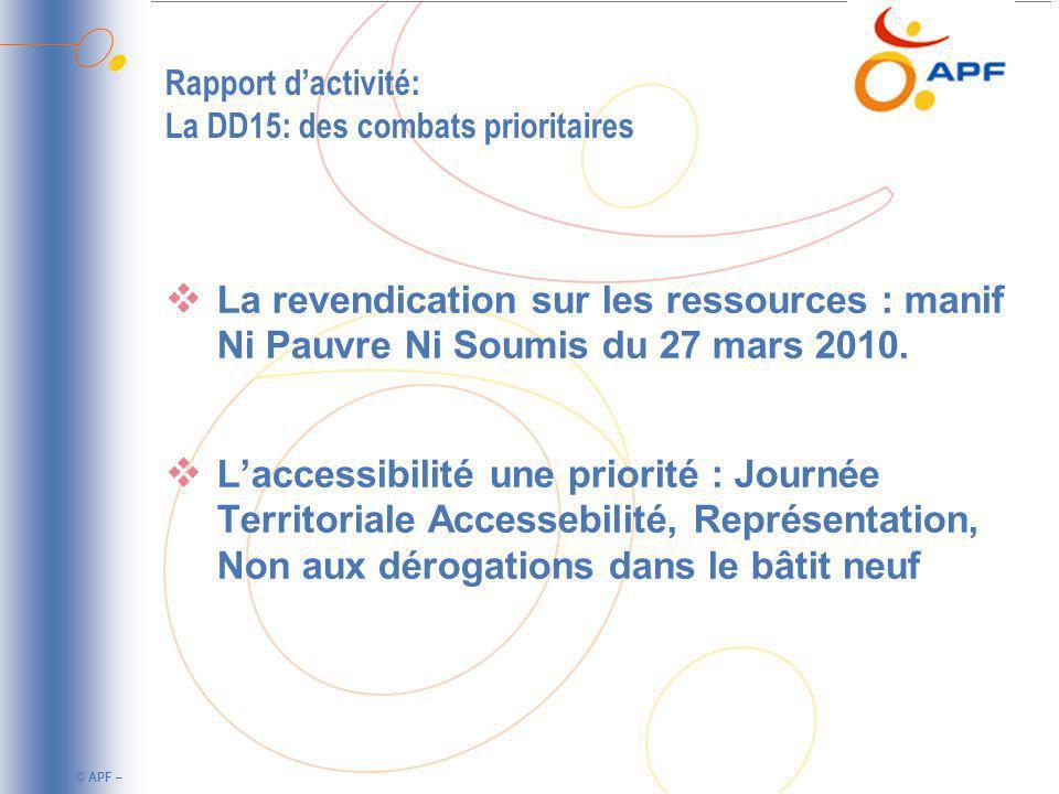 Rapport d'activité: La DD15: des combats prioritaires