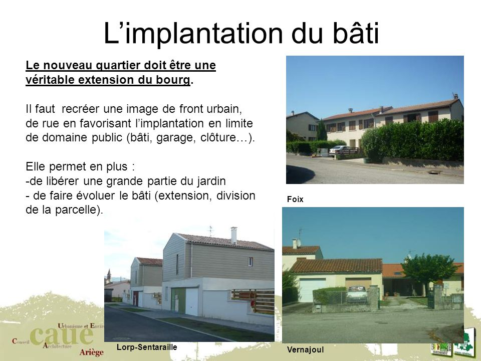 L'implantation du bâti