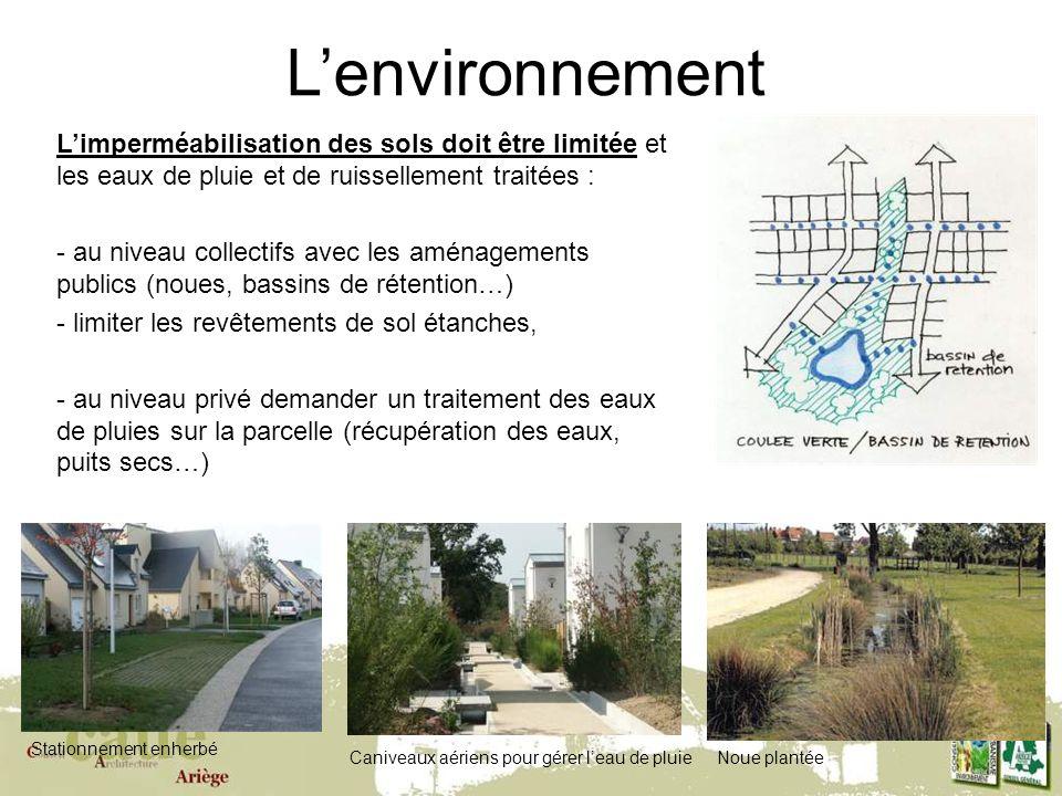 L'environnement L'imperméabilisation des sols doit être limitée et les eaux de pluie et de ruissellement traitées :